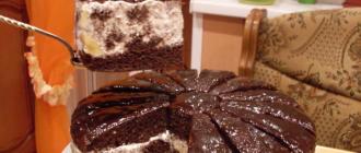 на фото торт Африканская ромашка с желатином и фруктами